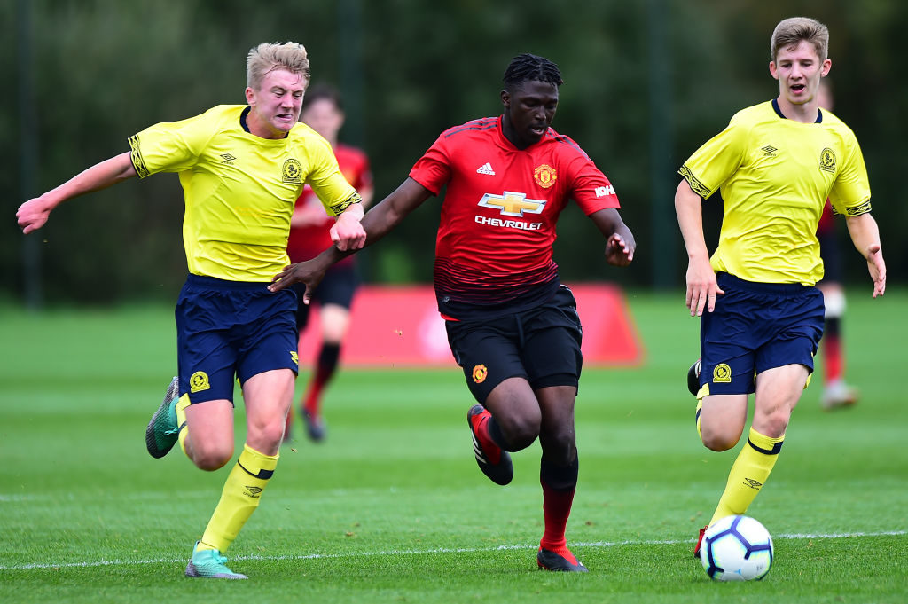 MANCHESTER, ENGLAND - SEPTEMBER 15:  Aliou Traore of Manchester United U18s in action during the U18 Premier League North match between Manchester United U18s and Blackburn Rovers U18s at Aon Training Complex on September 15, 2018 in Manchester, England.