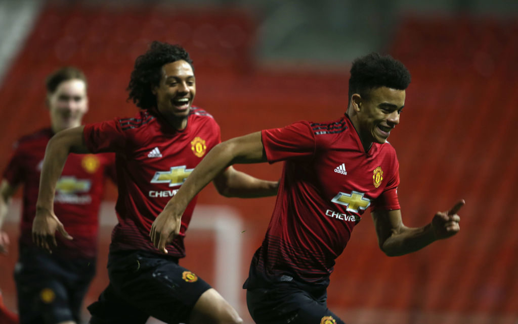 LEIGH, GREATER MANCHESTER - DECEMBER 17:  Mason Greenwood (R) of Manchester United U18s celebrates scoring their second goal during the FA Youth Cup Third Round match between Manchester United U18s and Chelsea U18s at Leigh Sports Village on December 17, 2018 in Leigh, Greater Manchester.