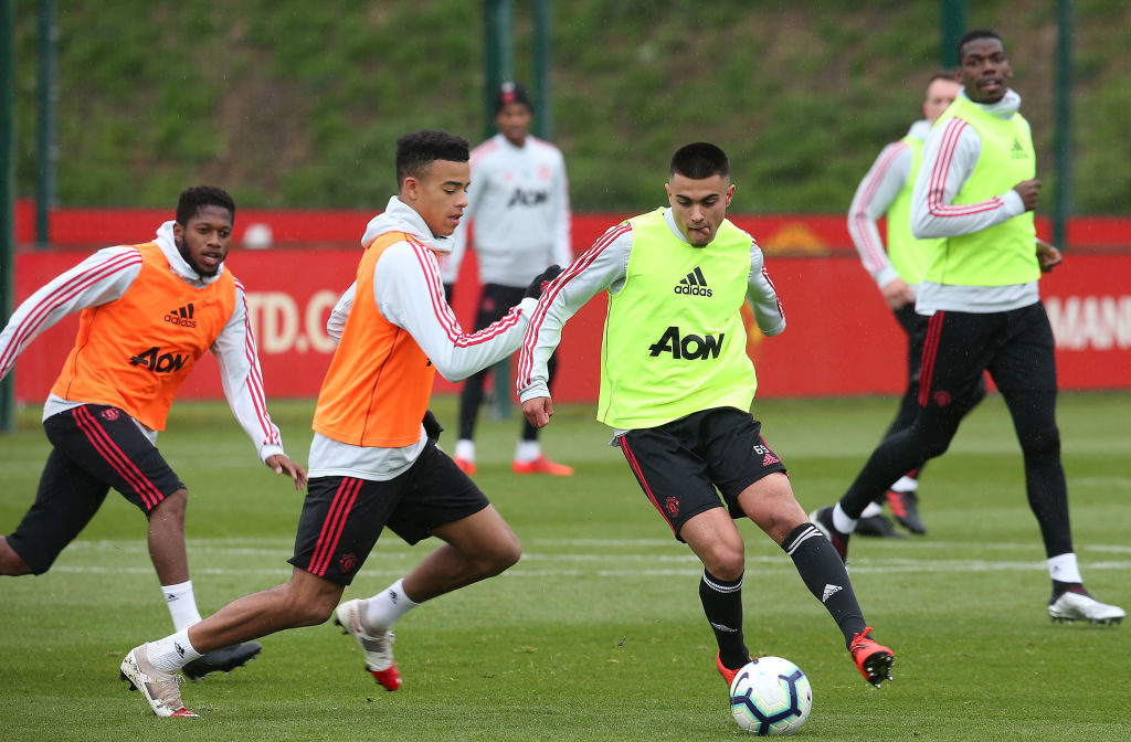 MANCHESTER, ENGLAND - MAY 09: Mason Greenwood and Arnau Puigmal of Manchester United in action during a first team training session at Aon Training Complex on May 09, 2019 in Manchester, England.