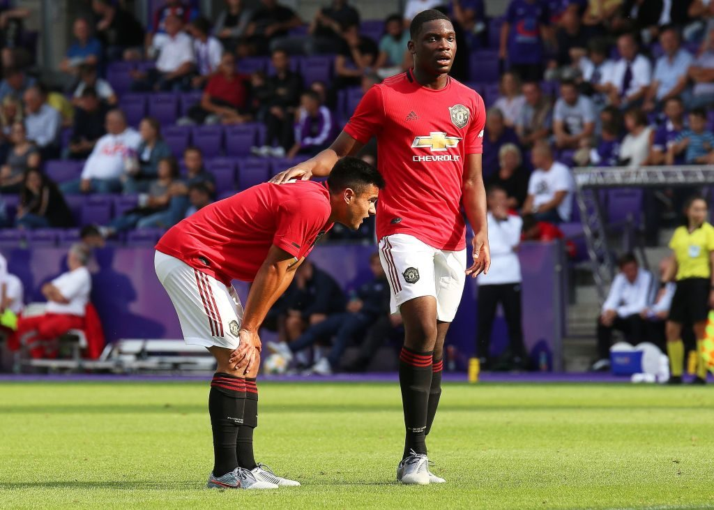 VIENNA, AUSTRIA - JULY 12: Arnau Puigmal and Teden Mengi of Manchester United U23 look dejected during the friendly match between Young Violets Austria Wien and Manchester United U23  at Generali Arena on July 12, 2019 in Vienna, Austria.