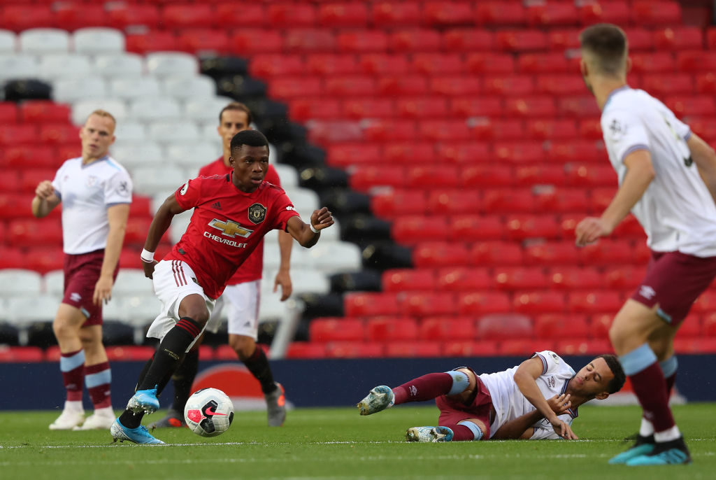 MANCHESTER, ENGLAND - AUGUST 30: Largie Ramazani of Manchester United U23s in action during the Premier League 2 match between Manchester United U23s and West Ham United U23s at Old Trafford on August 30, 2019 in Manchester, England.