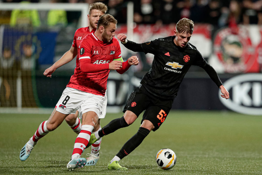 DEN HAAG, NETHERLANDS - OCTOBER 3: (L-R) Teun Koopmeiners of AZ Alkmaar, Fredrik Midtsjo of AZ Alkmaar, Brandon Williams of Manchester United  during the UEFA Europa League   match between AZ Alkmaar v Manchester United at the Cars Jeans Stadium on October 3, 2019 in Den Haag Netherlands
