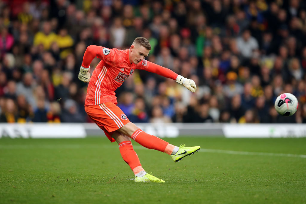 WATFORD, ENGLAND - OCTOBER 05: Dean Henderson of Sheffield United during the Premier League match between Watford FC and Sheffield United at Vicarage Road on October 5, 2019 in Watford, United Kingdom.