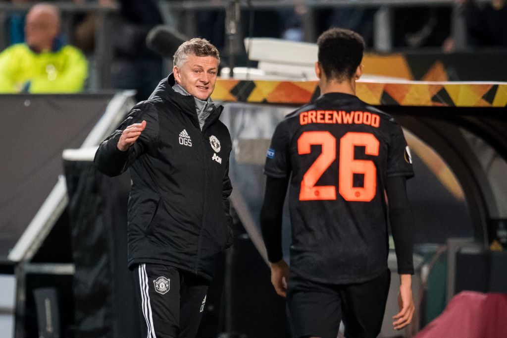 Laird debut. (L-R) coach Ole Gunnar Solskjaer of Manchester United, Mason Greenwood of Manchester United during the UEFA Europa League group L match between AZ Alkmaar and Manchester United at Cars Jeans stadium on October 03, 2019 in The Hague, The Netherlands