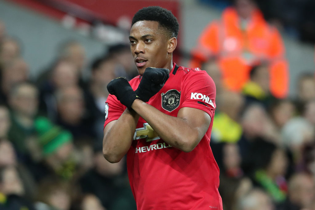 NORWICH, ENGLAND - OCTOBER 27: Anthony Martial of Man Utd celebrates scoring their 3rd goal during the Premier League match between Norwich City and Manchester United at Carrow Road on October 26, 2019 in Norwich, United Kingdom.