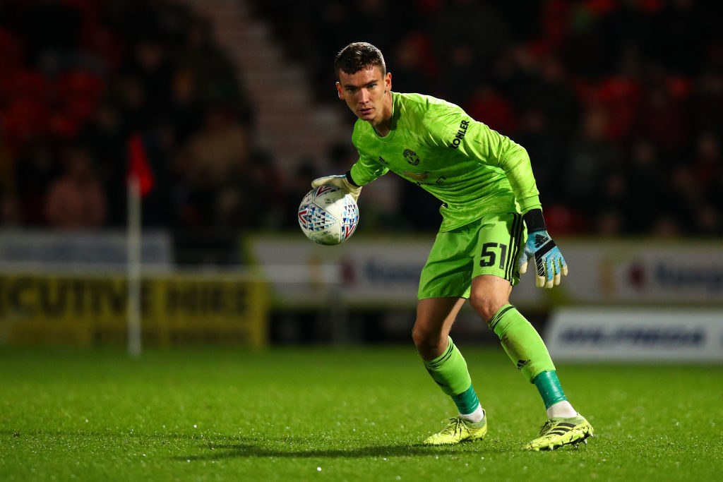 DONCASTER, ENGLAND - OCTOBER 29: Matej Kovar of Manchester United U21 during the Leasing.com Trophy match fixture between Doncaster Rovers and Manchester United U21's at Keepmoat Stadium on October 29, 2019 in Doncaster, England. Laird debut.