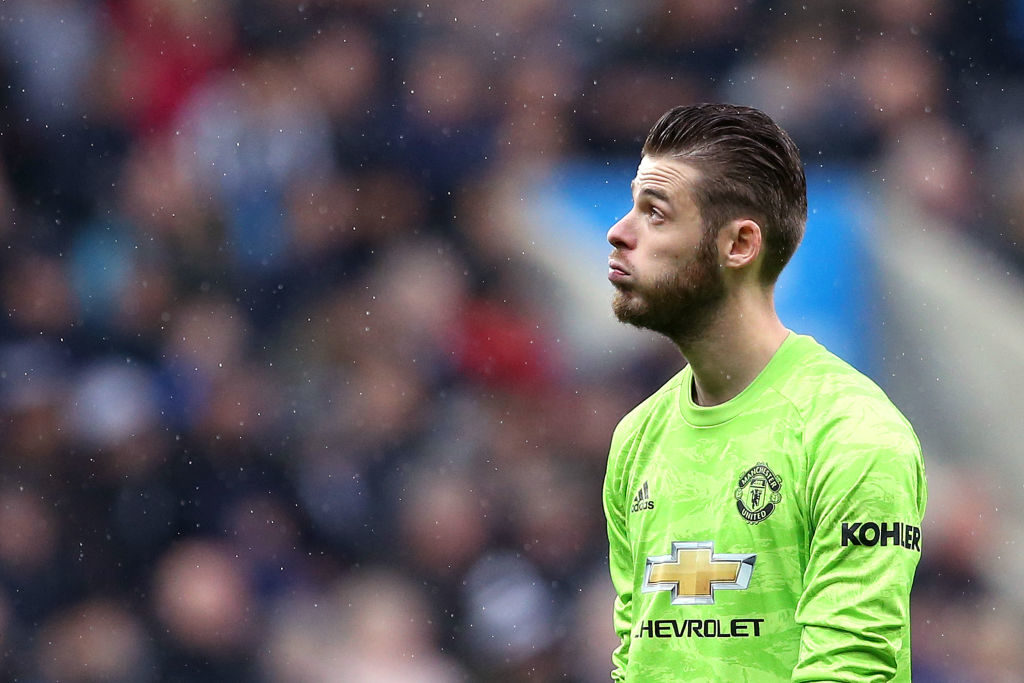 NEWCASTLE UPON TYNE, ENGLAND - OCTOBER 06: David De Gea of Manchester United reacts during the Premier League match between Newcastle United and Manchester United at St. James Park on October 06, 2019 in Newcastle upon Tyne, United Kingdom.