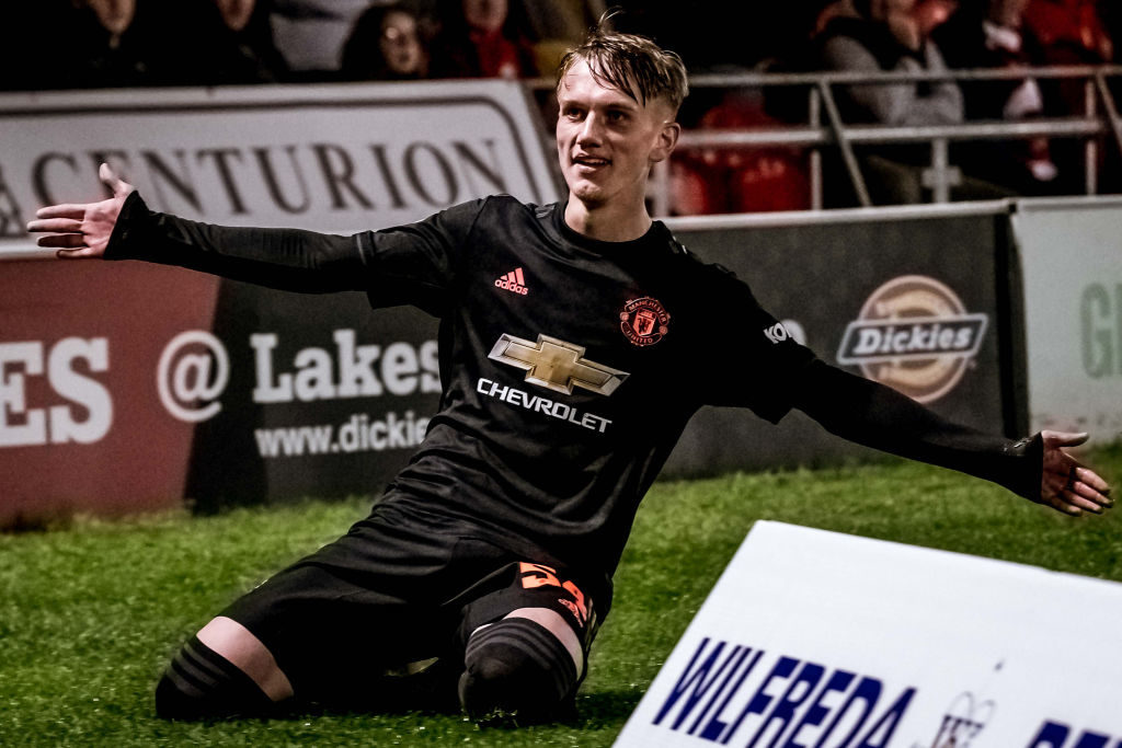 DONCASTER, ENGLAND - OCTOBER 29: Ethan Galbraith of Manchester United U21s celebrates scoring their first goal during the Leasing.com Trophy match between Doncaster Rovers and Manchester United U21s at Keepmoat Stadium on October 29, 2019 in Doncaster, England.  Puigmal.