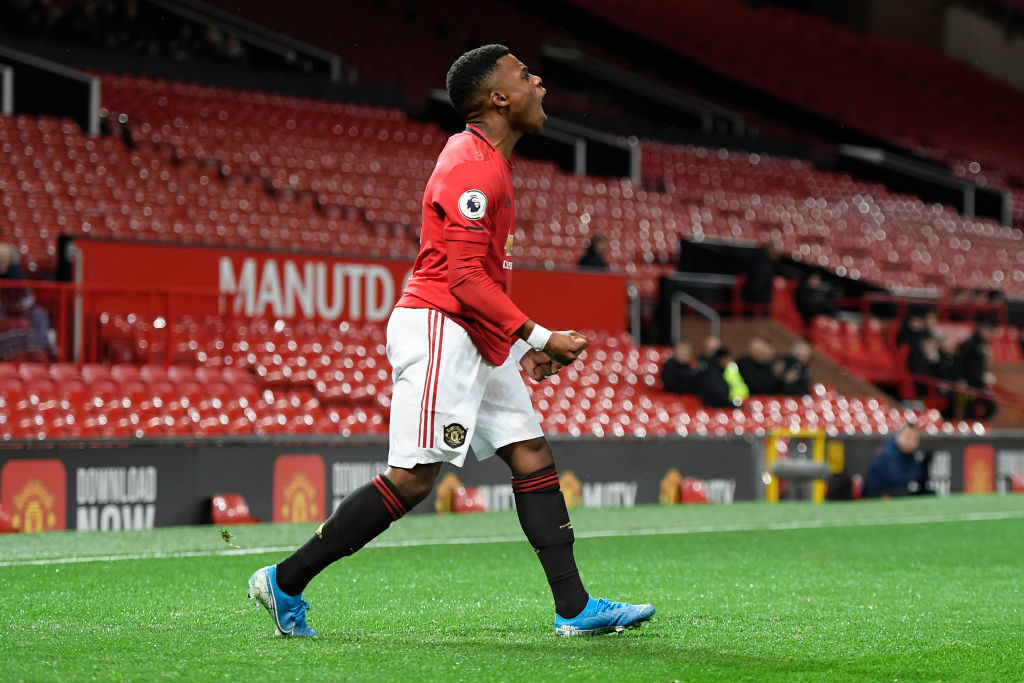 MANCHESTER, ENGLAND - NOVEMBER 22: Largie Ramazani of Manchester United U23 celebrates after scoring his sides first goal during the Premier League 2 match between Manchester United and Sunderland at Old Trafford on November 22, 2019 in Manchester, England. Rashford.