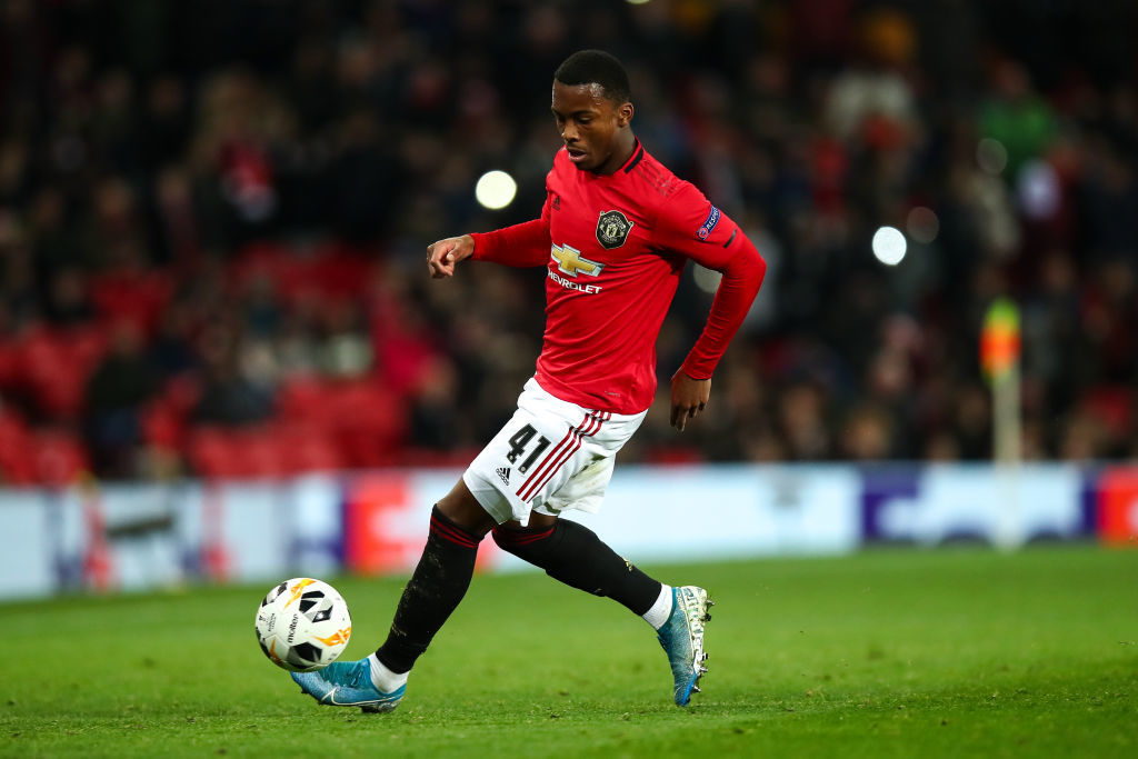 MANCHESTER, ENGLAND - DECEMBER 12: Ethan Laird of Manchester United during the UEFA Europa League group L match between Manchester United and AZ Alkmaar at Old Trafford on December 12, 2019 in Manchester, United Kingdom.