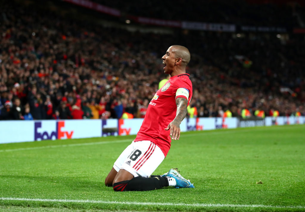 MANCHESTER, ENGLAND - DECEMBER 12: Ashley Young of Manchester United celebrates after scoring his team's first goal during the UEFA Europa League group L match between Manchester United and AZ Alkmaar at Old Trafford on December 12, 2019 in Manchester, United Kingdom.