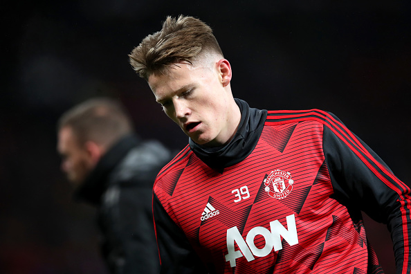 MANCHESTER, ENGLAND - DECEMBER 26: Scott McTominay of Manchester United warms up prior to the Premier League match between Manchester United and Newcastle United at Old Trafford on December 26, 2019 in Manchester, United Kingdom.