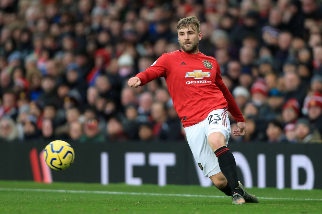 MANCHESTER, ENGLAND - DECEMBER 15: Luke Shaw of Man Utd in action during the Premier League match between Manchester United and Everton FC at Old Trafford on December 15, 2019 in Manchester, United Kingdom.