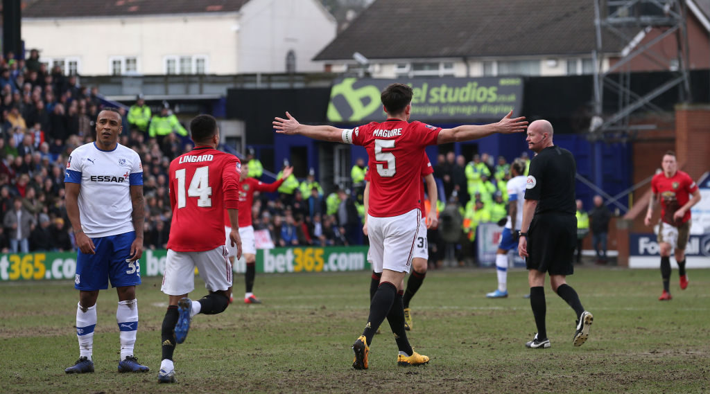 BIRKENHEAD, ENGLAND - JANUARY 26: Harry Maguire of Manchester United celebrates scoring their first goal during the FA Cup Fourth Round match between Tranmere Rovers and Manchester United at Prenton Park on January 26, 2020 in Birkenhead, England.