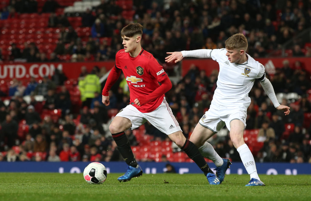 MANCHESTER, ENGLAND - FEBRUARY 05: Mark Helm of Manchester United U18s in action during the FA Youth Cup FIfth Round match between Manchester United U18s and Leeds United U18s at Old Trafford on February 05, 2020 in Manchester, England.