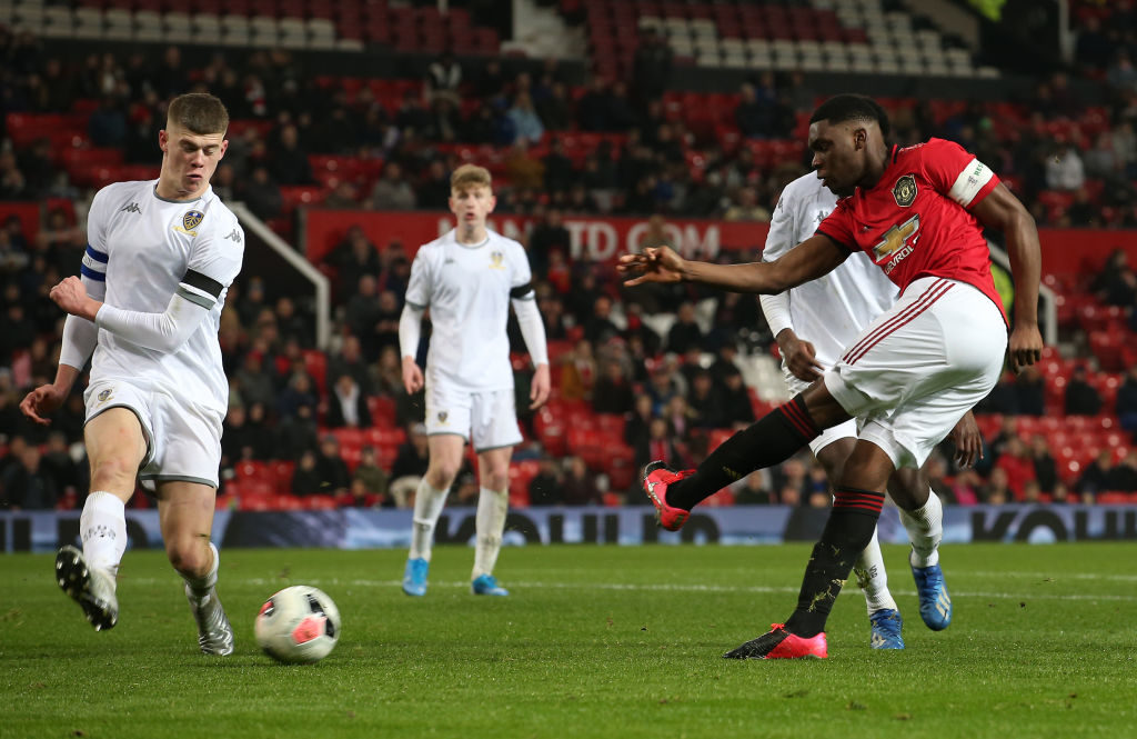 MANCHESTER, ENGLAND - FEBRUARY 05: Teden Mengi of Manchester United U18s in action during the FA Youth Cup FIfth Round match between Manchester United U18s and Leeds United U18s at Old Trafford on February 05, 2020 in Manchester, England.