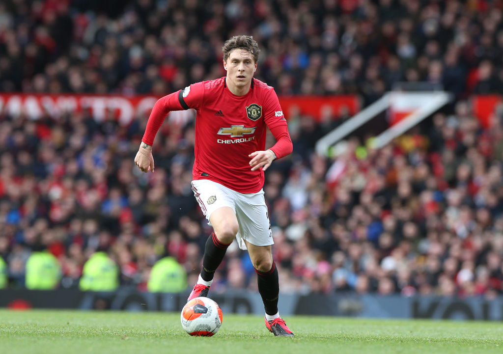 MANCHESTER, ENGLAND - FEBRUARY 23: Victor Lindelof of Manchester United in action during the Premier League match between Manchester United and Watford FC at Old Trafford on February 23, 2020 in Manchester, United Kingdom.