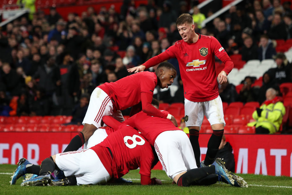 MANCHESTER, ENGLAND - FEBRUARY 28: Shola Shoretire of Manchester United celebrates his goal during the FA Youth Cup: Sixth Round match between Manchester United and Wigan Athletic at Old Trafford on February 28, 2020 in Manchester, England.