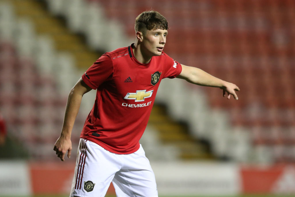 LEIGH, ENGLAND - DECEMBER 13: Will Fish of Manchester United reacts during the FA Youth Cup Third Round match between Manchester United and Lincoln City at Leigh Sports Village on December 13, 2019 in Leigh, England.