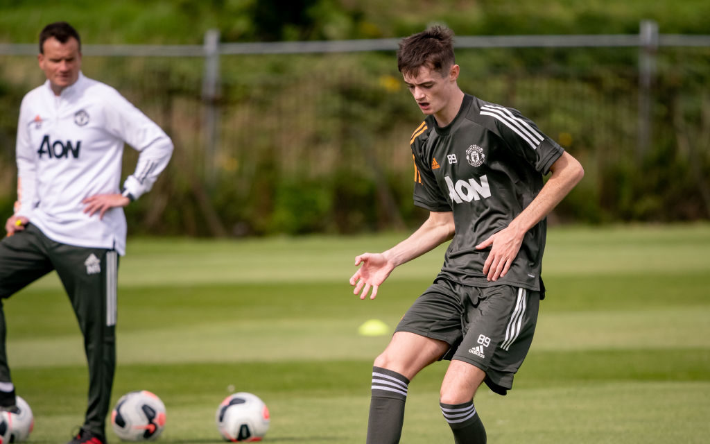 MANCHESTER, ENGLAND - JULY 29: (EXCLUSIVE COVERAGE) Joe Hugill of Manchester United U18s in action during a training session at Aon Training Complex on July 29, 2020 in Manchester, England. Hugill scored four goals against Liverpool