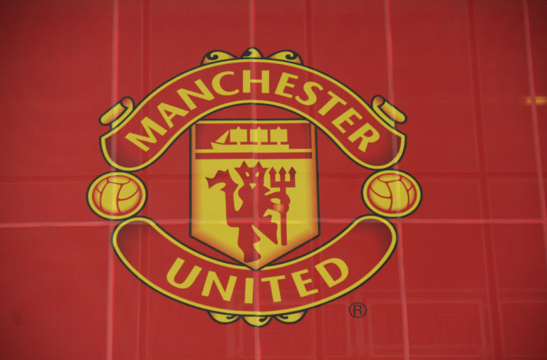 Manchester United logo seen at the Old Trafford Stadium in
