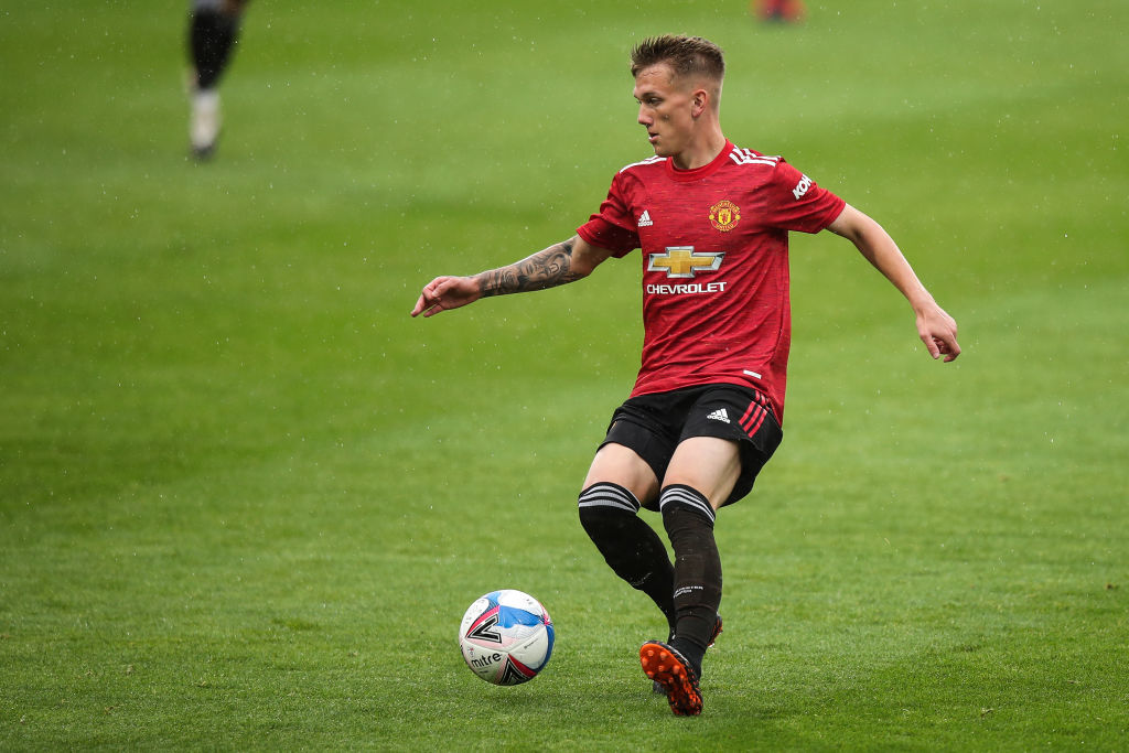 HUDDERSFIELD, ENGLAND - AUGUST 29: Ethan Galbraith of Manchester United U23s during the Pre Season Friendly fixture between Huddersfield Town and Manchester United U23 at The John Smiths Stadium on August 29, 2020 in Huddersfield, England.