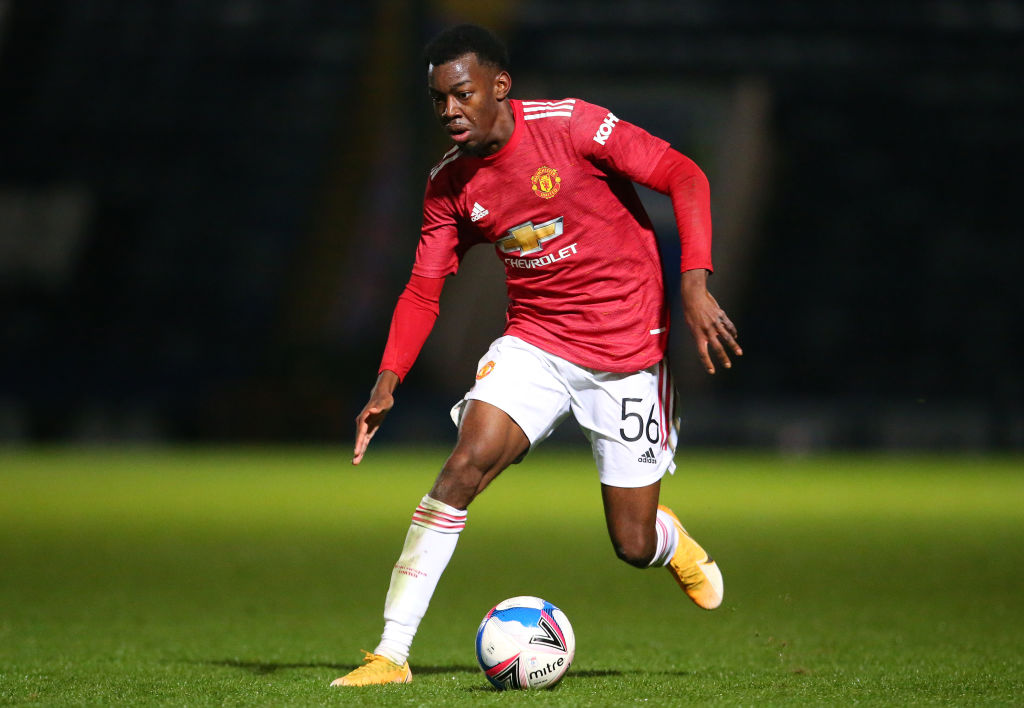 Manchester United West Ham U23s Premier League 2 U23 ROCHDALE, ENGLAND - SEPTEMBER 29:    Anthony Elanga of Manchester United U21 runs with the ball during the EFL Trophy match between Rochdale and Manchester United U21 at Crown Oil Arena on September 29, 2020 in Rochdale, England.