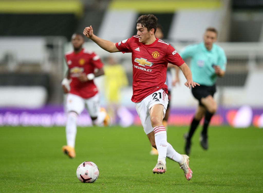 NEWCASTLE UPON TYNE, ENGLAND - OCTOBER 17: Daniel James of Man Utd in action during the Premier League match between Newcastle United and Manchester United at St. James Park on October 17, 2020 in Newcastle upon Tyne, United Kingdom. Sporting stadiums around the UK remain under strict restrictions due to the Coronavirus Pandemic as Government social distancing laws prohibit fans inside venues resulting in games being played behind closed doors. Van de Beek.
