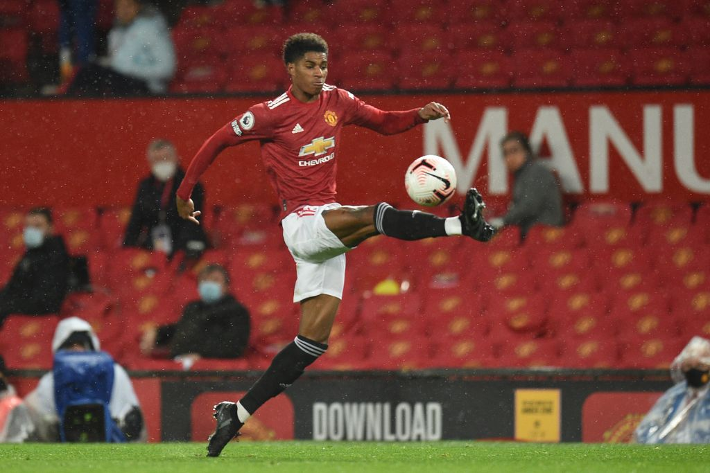 Manchester United's English striker Marcus Rashford controls the ball during the English Premier League football match between Manchester United and Chelsea at Old Trafford in Manchester, north west England, on October 24, 2020. (Photo by Oli SCARFF / POOL / AFP)