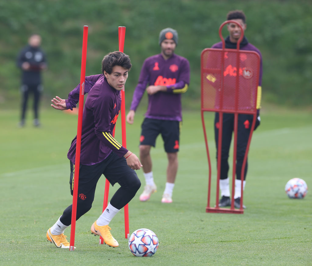MANCHESTER, ENGLAND - OCTOBER 19: Facundo Pellistri of Manchester United in action during a first team training session ahead of the UEFA Champions League Group H stage match between Manchester United and Paris Saint-Germain at Aon Training Complex on October 19, 2020 in Manchester, England.