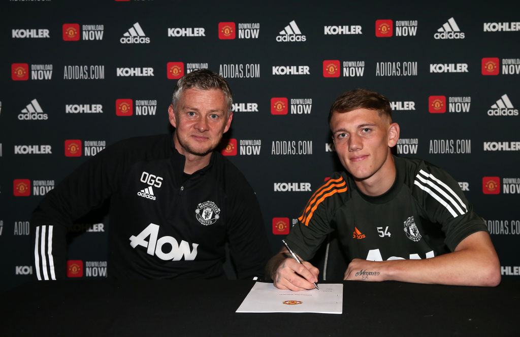 MANCHESTER, ENGLAND - OCTOBER 27: (EXCLUSIVE COVERAGE) Ethan Galbraith of Manchester United poses after signing a new contract at Aon Training Complex on October 27, 2020 in Manchester, England.