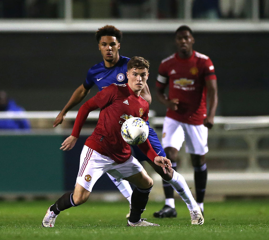 BURTON-UPON-TRENT, ENGLAND - OCTOBER 30: Charlie McCann of Manchester United U18s in action during the FA Youth Cup semi-final match between Manchester United U18s and Chelsea U18s at St Georges Park on October 30, 2020 in Burton-upon-Trent, England.