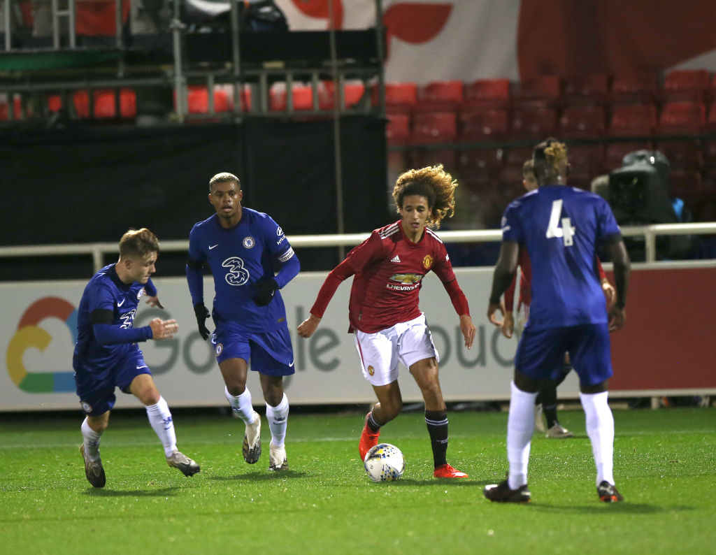 BURTON-UPON-TRENT, ENGLAND - OCTOBER 30: Hannibal Mejbri of Manchester United U18s in action during the FA Youth Cup semi-final match between Manchester United U18s and Chelsea U18s at St Georges Park on October 30, 2020 in Burton-upon-Trent, England.