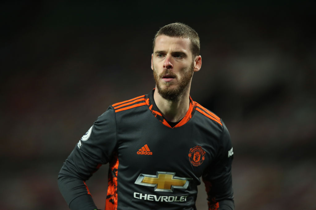 MANCHESTER, ENGLAND - NOVEMBER 21: David De Gea of Manchester United during the Premier League match between Manchester United and West Bromwich Albion at Old Trafford on November 21, 2020 in Manchester, United Kingdom. Sporting stadiums around the UK remain under strict restrictions due to the Coronavirus Pandemic as Government social distancing laws prohibit fans inside venues resulting in games being played behind closed doors.