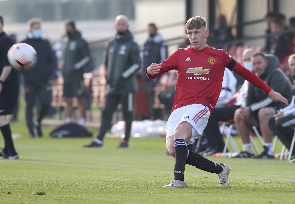 MANCHESTER, ENGLAND - NOVEMBER 07: Logan Pye of Manchester United U18s in action during the Premier League U18 match between Manchester United U18s and Everton U18s at Aon Training Complex on November 07, 2020 in Manchester, England.