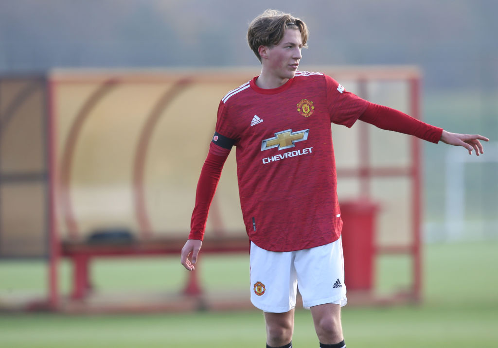 MANCHESTER, ENGLAND - NOVEMBER 07: Charlie Savage of Manchester United U18s in action during the Premier League U18 match between Manchester United U18s and Everton U18s at Aon Training Complex on November 07, 2020 in Manchester, England.