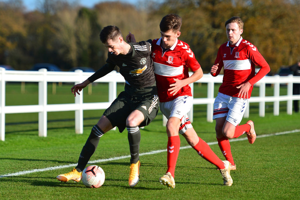 DARLINGTON, ENGLAND - NOVEMBER 13: Joe Hugill of Manchester United U18s in action during the Premier League U18s match between Middlesbrough U18s and Manchester United U18s at Rockliffe Park on November 13, 2020 in Darlington, England.