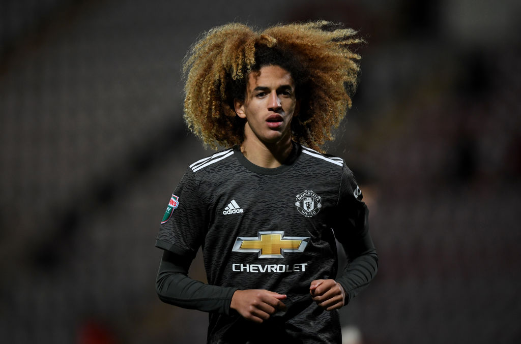 MORECAMBE, ENGLAND - NOVEMBER 18: Hannibal Mejbri of Manchester United during the EFL Trophy match between Morecambe and Manchester United U21 at Mazuma Stadium on November 18, 2020 in Morecambe, England. Sporting stadiums around the UK remain under strict restrictions due to the Coronavirus Pandemic as Government social distancing laws prohibit fans inside venues resulting in games being played behind closed doors.  Mejbri won two penalties for United U23 against Liverpool