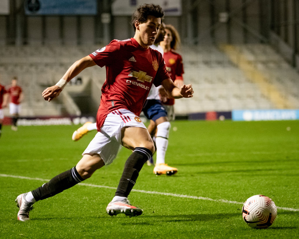 LEIGH, ENGLAND - NOVEMBER 22: Facundo Pellistri of Manchester United U23s in action during the Premier League 2 match between Manchester United U23s and Tottenham Hotspur U23s at Leigh Sports Village on November 22, 2020 in Leigh, England.