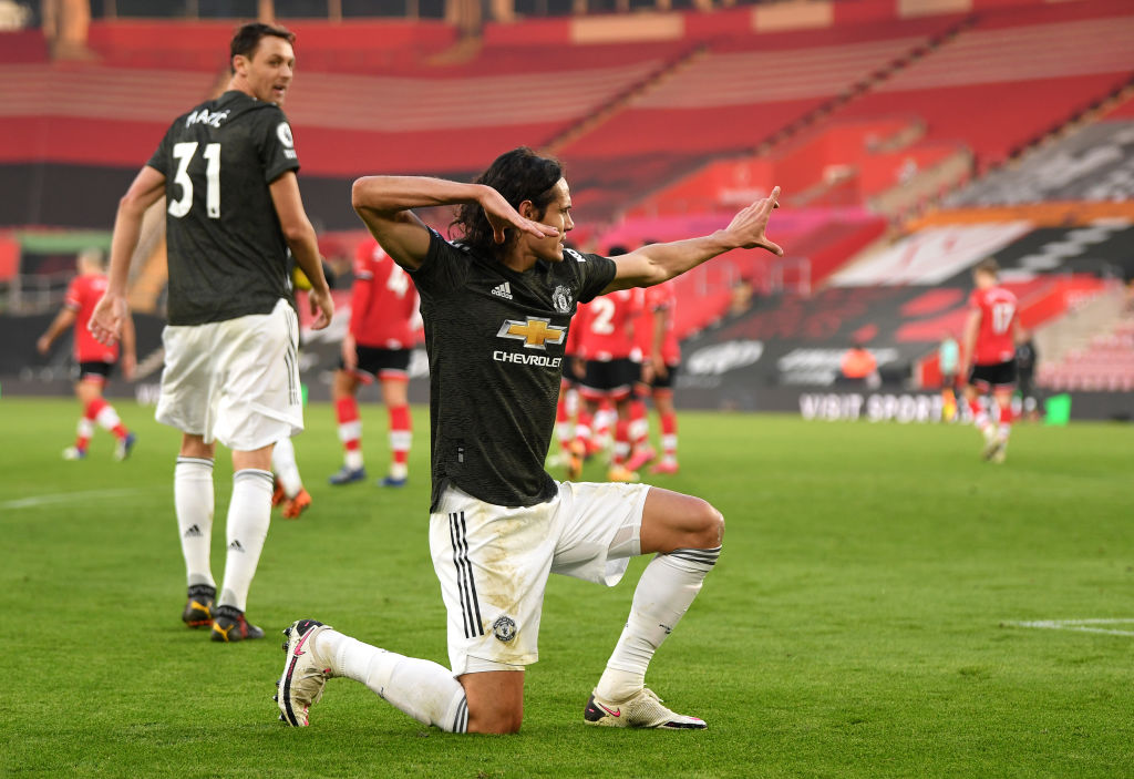 SOUTHAMPTON, ENGLAND - NOVEMBER 29: Edinson Cavani of Manchester United celebrates after scoring their team's second goal during the Premier League match between Southampton and Manchester United at St Mary's Stadium on November 29, 2020 in Southampton, England.