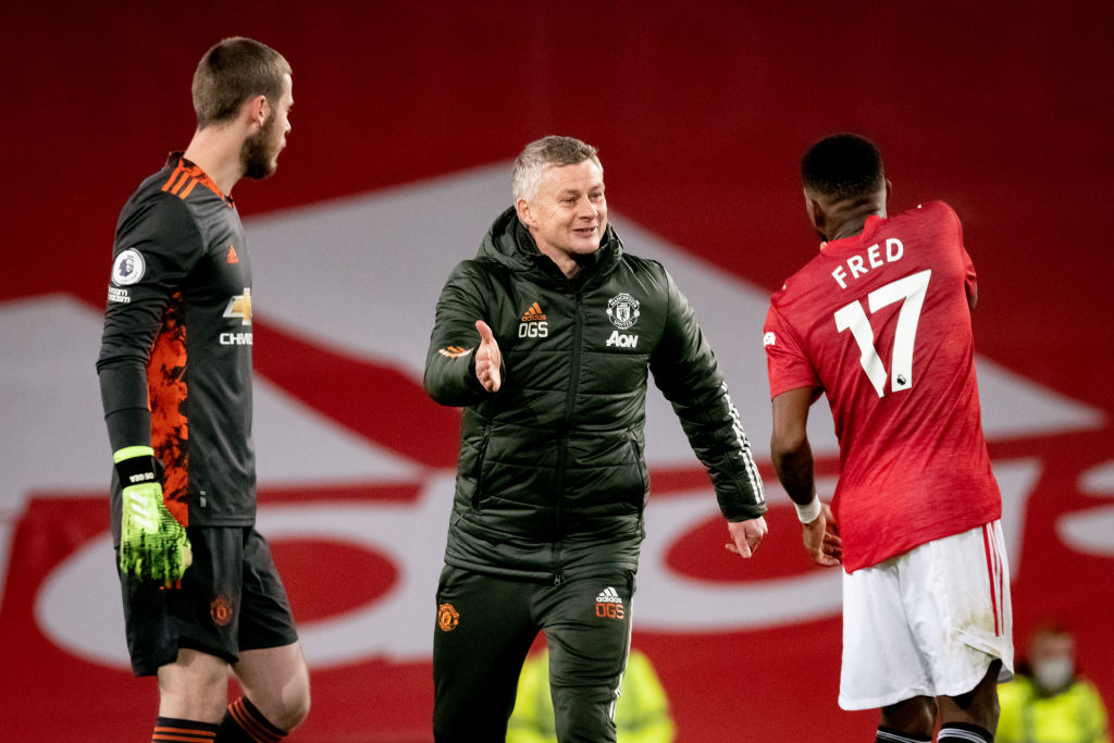 MANCHESTER, ENGLAND - DECEMBER 12:  Manchester United Head Coach / Manager Ole Gunnar Solskjaer reacts to Fred of Manchester United at the end of the Premier League match between Manchester United and Manchester City at Old Trafford on December 12, 2020 in Manchester, United Kingdom. The match will be played without fans, behind closed doors as a Covid-19 precaution.