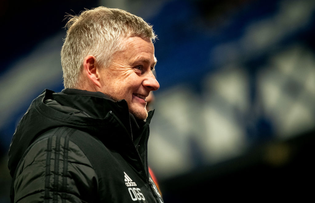 LIVERPOOL, ENGLAND - DECEMBER 23:   Manchester United Head Coach / Manager Ole Gunnar Solskjaer reacts  at the end of the Carabao Cup Quarter Final match between Everton and Manchester United at Goodison Park on December 23, 2020 in Liverpool, England.