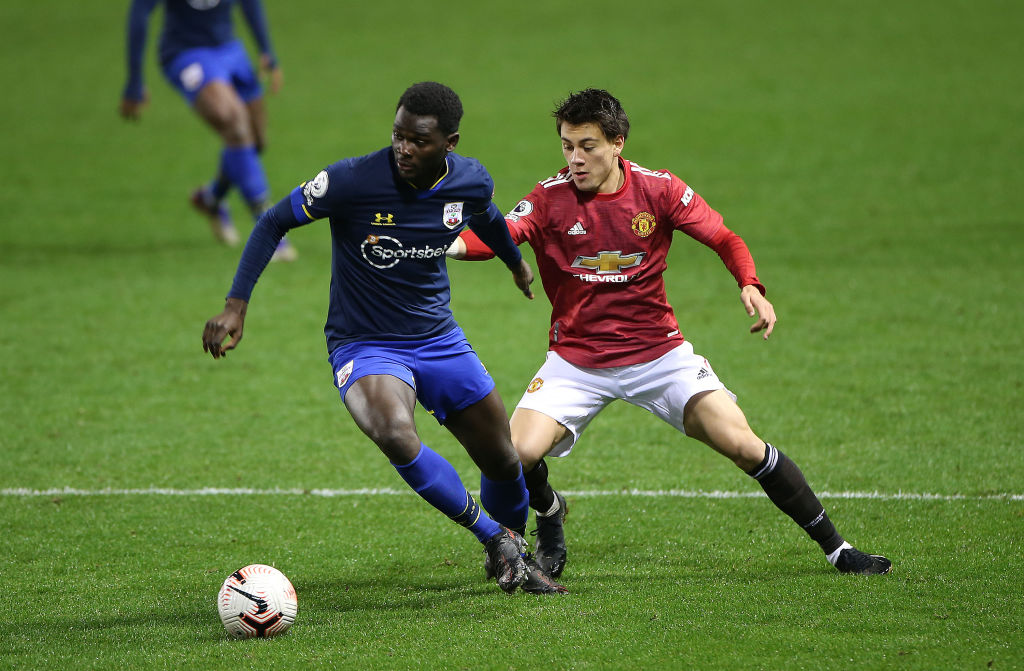 LEIGH, ENGLAND - DECEMBER 04: Facundo Pellistri of Manchester United U23s in action during the Premier League 2 match between Manchester United U23s and Southampton U23s at Leigh Sports Village on December 04, 2020 in Leigh, England.