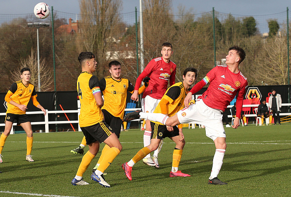 WOLVERHAMPTON, ENGLAND - DECEMBER 12: Martin Svidersky of Manchester United U18s in action during the U18 Premier League match between Wolverhampton Wanderers U18s and Manchester United U18s at Sir Jack Hayward Training Ground on December 12, 2020 in Wolverhampton, England.
