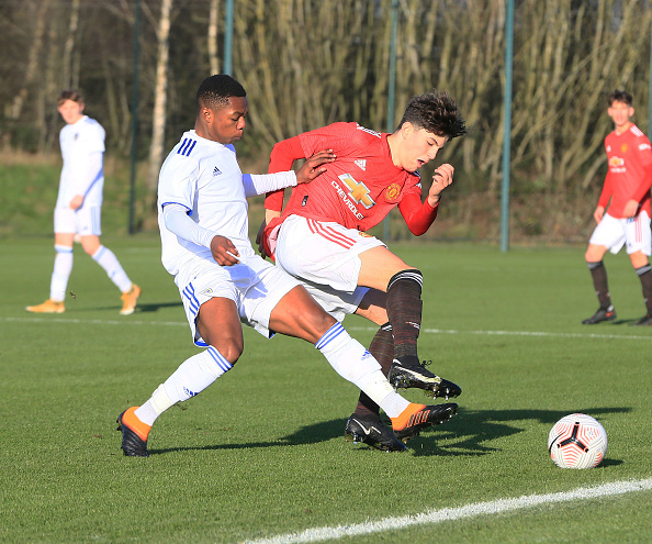 MANCHESTER, ENGLAND - DECEMBER 17: Alejandro Garnacho of Manchester United U18s in action during the U18 Premier League match between Manchester United U18s and Leeds United U18s at Aon Training Complex on December 17, 2020 in Manchester, England.