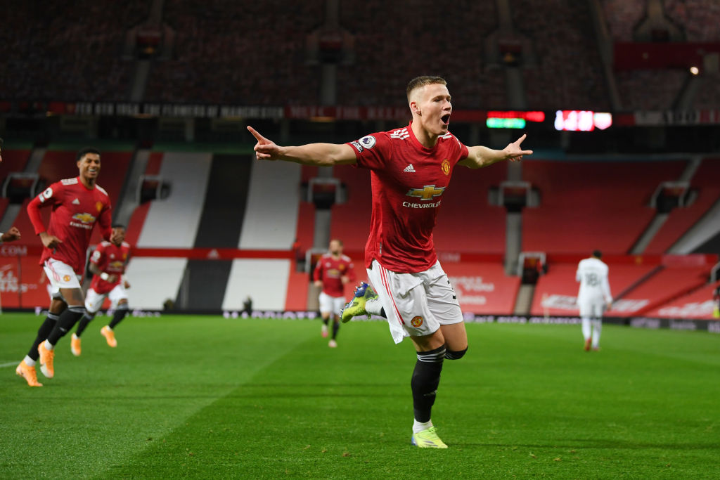 MANCHESTER, ENGLAND - DECEMBER 20: Scott McTominay of Manchester United celebrates after scoring their sides second goal during the Premier League match between Manchester United and Leeds United at Old Trafford on December 20, 2020 in Manchester, England. The match will be played without fans, behind closed doors as a Covid-19 precaution.