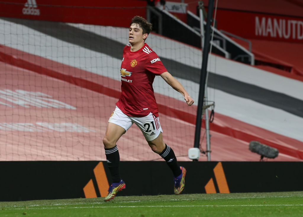 MANCHESTER, ENGLAND - DECEMBER 20: Daniel James of Manchester United celebrates scoring their fifth goal during the Premier League match between Manchester United and Leeds United at Old Trafford on December 20, 2020 in Manchester, England.
