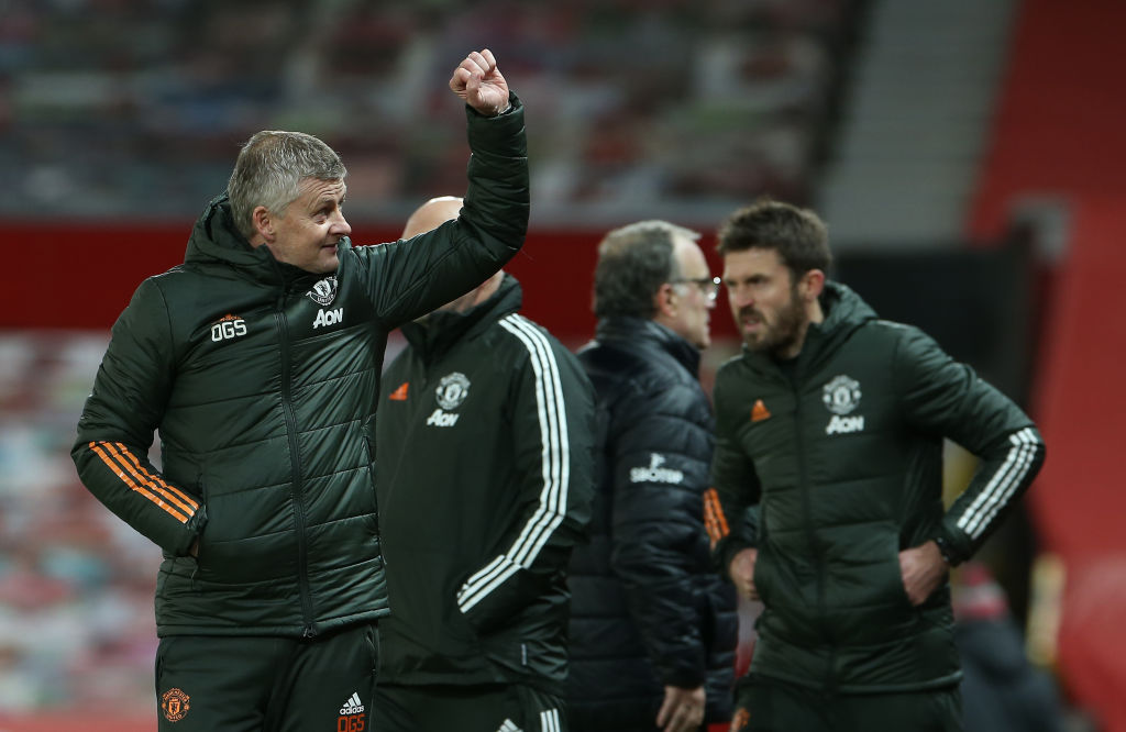 MANCHESTER, ENGLAND - DECEMBER 20: Manager Ole Gunnar Solskjaer of Manchester United celebrates after the Premier League match between Manchester United and Leeds United at Old Trafford on December 20, 2020 in Manchester, England.