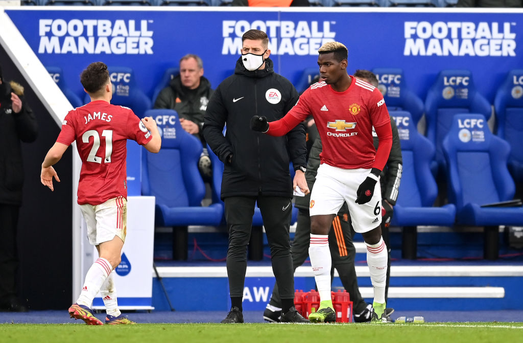 LEICESTER, ENGLAND - DECEMBER 26: Paul Pogba of Manchester United comes on to replace Daniel James of Manchester United during the Premier League match between Leicester City and Manchester United at The King Power Stadium on December 26, 2020 in Leicester, England. The match will be played without fans, behind closed doors as a Covid-19 precaution.
