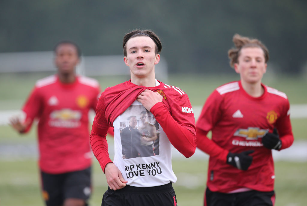 BLACKBURN, ENGLAND - JANUARY 23: (EXCLUSIVE COVERAGE)  Charlie McNeill of Manchester United U18s celebrates scoring their first goal during the U18s Premier League match between Blackburn Rovers U18s and Manchester United U18s on January 23, 2021 in Blackburn, England.